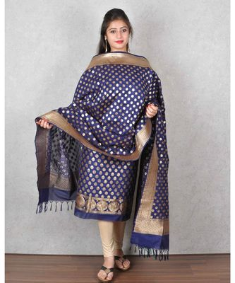 Blue Banarasi Cotton Silk Suit