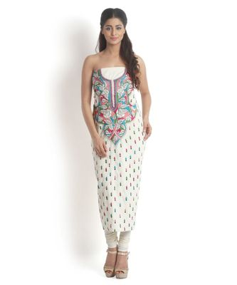 Off-White Cotton Suit with Kantha work