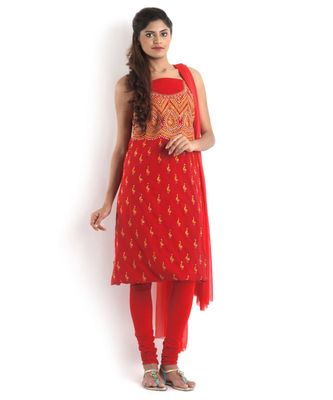 red Pure Cotton 2 Pc Suit with Floral Kantha Jaal work