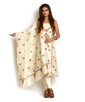 Off White Pure Silk Kantha Suit