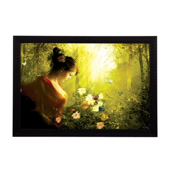 Girl with Flowers Satin Matt Texture UV Art Painting