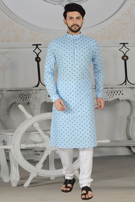 blue stylish digital print kurta pyjama