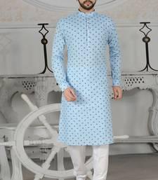 Blue Stylish Digital Print Kurta Pyjama