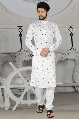 white stylish digital print kurta pyjama