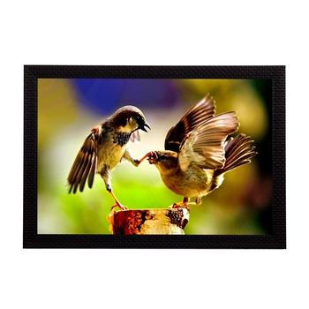 Playing Birds Satin Matt Texture UV Art Painting