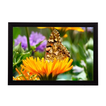 Butterfly On a Flower Satin Matt Texture UV Art Painting