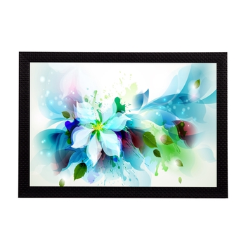 Blue Floral Satin Matt Texture UV Art Painting