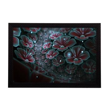 Shining Blue Floral Satin Matt Texture UV Art Painting