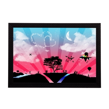 Pink Blue & Love Satin Matt Texture UV Art Painting