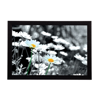 Black & White Floral Satin Matt Texture UV Art Painting