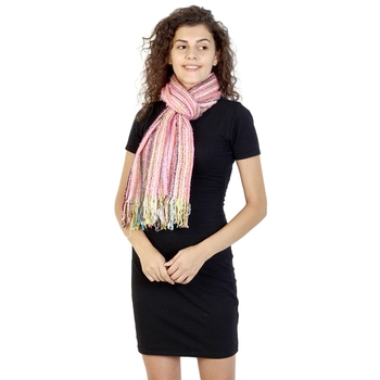 Pink & Multicolor Striped Acrylic Stole