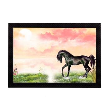 Black Horse Satin Matt Texture UV Art Painting