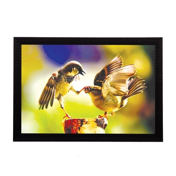 Playful Birds Satin Matt Texture UV Art Painting