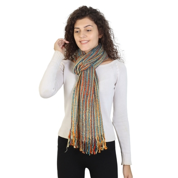 Orange Turquoise & Multicolor Striped Acrylic Stole