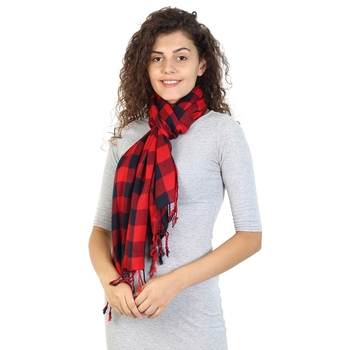 Red & Navy Viscose Rayon Checked Woven Design Stole