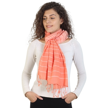 Light Orange Striped Viscose Rayon Stole