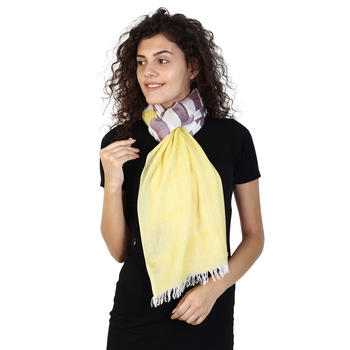 Yellow & Cherry Cotton Striped Woven Design Stole