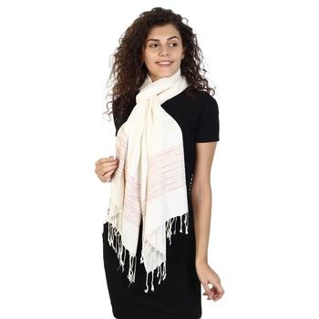 Ivory & Multicolor Viscose Rayon Striped Woven Design Stole