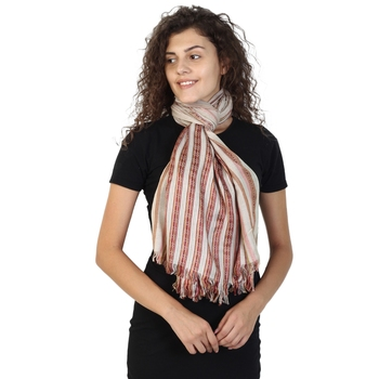 Light Brown & Multicolor Viscose Rayon Striped Woven Design Stole