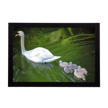 SwanWith Baby Satin Matt Texture UV Art Painting