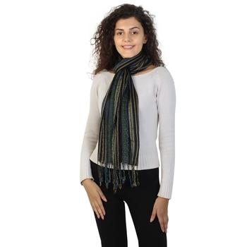 Black & Multicolor Viscose Rayon Woven Design Scarves
