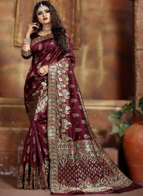 Wine woven art silk saree with blouse