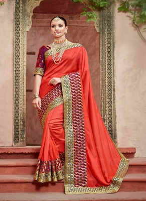 scarlet red embroidered silk blend saree with blouse