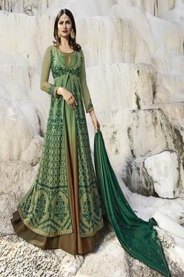Green Embroidered Satin Salwar With Dupatta