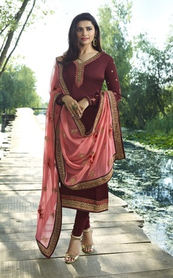 Wine Embroidered satin semi stitched salwar with dupatta