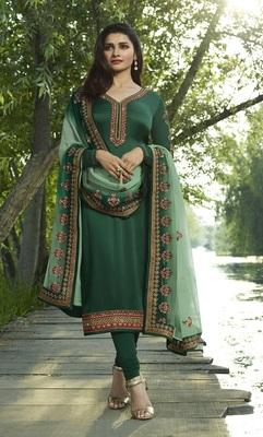 Green Embroidered Satin Semi-Stitched Salwar With Dupatta