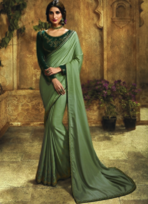grey embroidered art silk saree with blouse