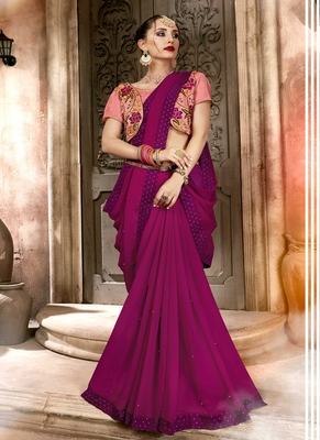 Rani pink plain georgette saree with blouse