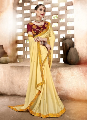 Light yellow plain georgette saree with blouse