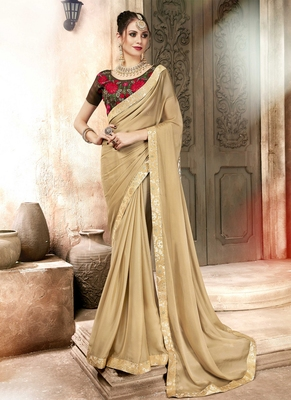 Beige plain georgette saree with blouse
