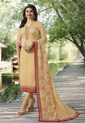 Cream Embroidered Satin Semi-Stitched Salwar With Dupatta