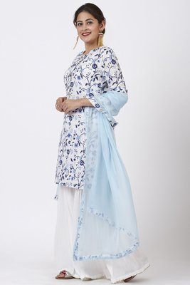 Blue Floral Gotta Kurti with White Festive Sharara and Blush Blue Chiffon Dupatta