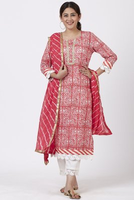 Raspberry Pink Floral Printed Kurti with Crochet Pants and Leheriya Dupatta