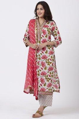 Pink Floral Hues Straight Kurti with Straight Pants and Leheriya Dupatta