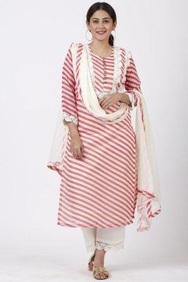 Pink Leheriya Crochet Straight Kurti with Crochet Pants and Leheriya Chiffon Dupatta