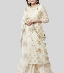 off white Gold Foil Printed Kurti with Foil Printed Kalidaar Palazzo and Ivory Floral Gotta Patti Dupatta