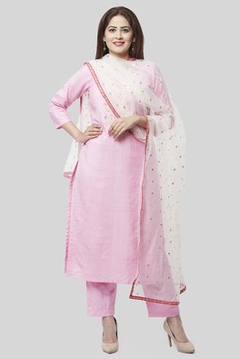 Pearl Blush Embroidered Kurti with Straight Pants and off white Sequence Dupatta with Hot Pink Border