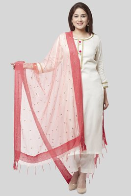 off white Gotta Straight Kurti with Straight Pants and Coral Sequence Dupatta