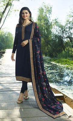 Navyblue Embroidered Satin Semi-Stitched Salwar With Dupatta