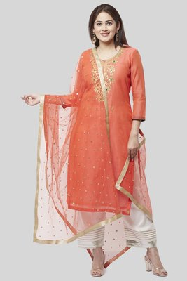 Coral Embroidered Chanderi Kurti with off white Gotta Palazzo and Sequenced Dupatta