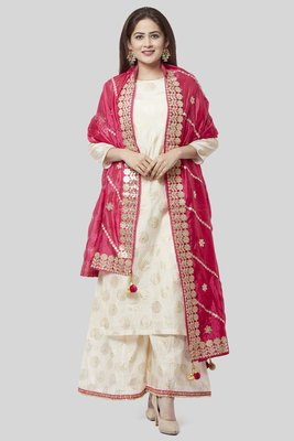 off white Gold Foil Printed Kurti with Foil Printed Kalidaar Palazzo and Pink Embroidered Dupatta