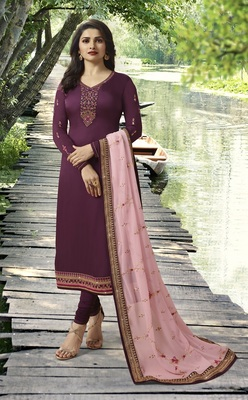 Wine Embroidered Satin Semi-Stitched Salwar With Dupatta