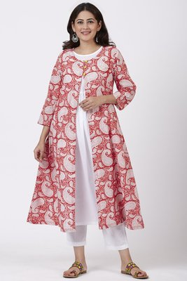 Red Paisley Cape Kurti with Straight Pants