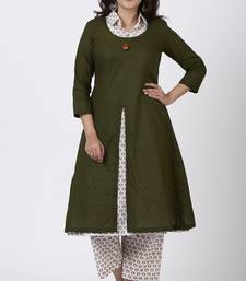Mehendi Green Collared Printed Kurti with Straight Pants