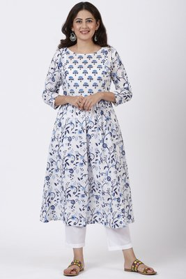 Blue Fiza Floral Printed Gathered Kurti with Straight Pants