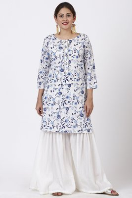 Blue Floral Gotta Kurti with White Festive Sharara